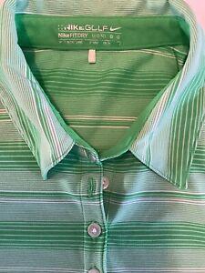 Golf Nike (L) Women's Green/ White Stripe Short Sleeve Golf Top W/ Side Logo