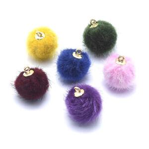 10pcs Velvet Pompoms Ball Pendants Mini Round Charms Decoration Crafting 18x15mm