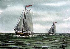 ORIGINAL AQUARELL - Zwei Plattbodensegler auf dem Ijsselmeer.