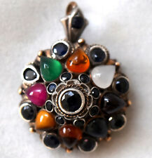 Antique 9K Solid Gold, Sterling Silver, Sapphire & Gemstones Pendant/Brooch