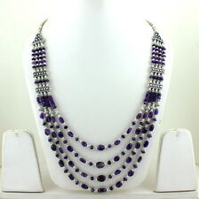 NATURAL PURPLE FINE AMETHYST GEMSTONE BEADS BEAUTIFUL NECKLACE 73 GRAMS