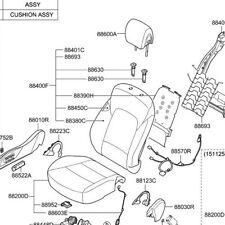 Hyundai OEM 16-18 Santa Fe Passenger - Seat Back Assembly 888405-4z510-r3x