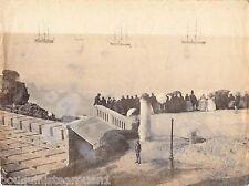 photo albuminée Biarritz la mer les bateaux trois mâts époque Napoléon III 19èm
