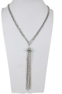 Women Silver Metal Chain Long Fringes Fashion Necklace Rhinestone Tassel Earring