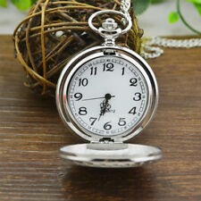 Smooth Steampunk Pocket Watch Stainless Steel Quartz Pendant And Chain Vintage