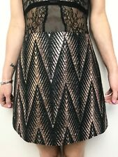 WILLOW rose gold lame with black woven pattern a line skirt sz 10 lined