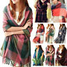 Women Pashmina Winter Plaid Warm Shawl Oversize Cashmere Wrap Stole Long Scarves