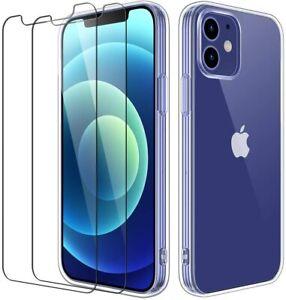 COQUE IPHONE 12 / 12 pro mini 11 max XR XS +2X VITRE housse silicone transparent