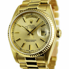 ROLEX - 18kt Gold Day Date PRESIDENT Light Champagne Stick 18038 - SANT BLANC