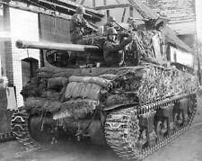 WWII B&W Photo M4 Sherman Tank Sandbagged and Camouflauged GREAT PIC! WW2 / 3027