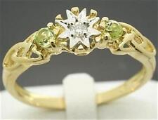 Peridot & Diamond 9ct 9K Solid Gold Celtic Irish Ring - 30 Day Return FREE Ship