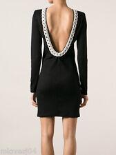 Balmain Crystal Embellished Chain Detail Backless Dress BNWT 8 IT 40 FR 36 £2550