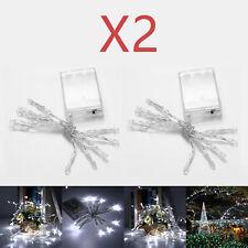2pc 10 LED White Outdoor Christmas String Fairy Wedding Light Lights Lamp