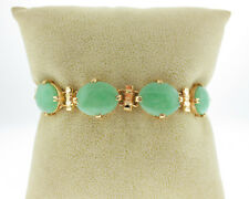 "Estate Green Jades Solid 18k Yellow Gold 6.5"" Bracelet w/ Safety Chain"