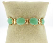 "Estate Green Jades Solid 18k Yellow Gold 6.5"" Bracelet w/ Safety Chain"