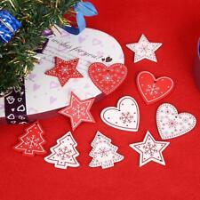 10pcs Wood Christmas Hanging Ornaments Pendant DIY Xmas Tree Home Wedding Decor