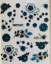 Nail Art 3D Decal Stickers Flowers - Blue, Gold & Black YGYY107