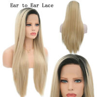 Ombre Blonde Lace Front Wigs 28 Inch Long Straight Synthetic Hair Lace Front Wig