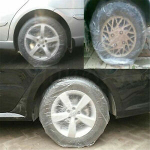 20pcs Car Universal Disposable Waterproof Transparent Tire Wheel Cover Protect