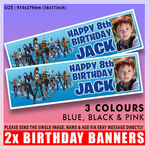 """2x PERSONALISED FORTNITE S2 PHOTO BIRTHDAY BANNERS ANY NAME ANY AGE 36x11"""""""