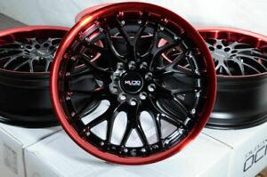 "17"" Wheels Fit Elantra Santa Fe Tiburon Forte Civic Accord Black Red Rims 5 Lugs"