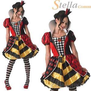 Adult Womens Disney Red Queen of Hearts Alice In Wonderland Fancy Dress Costume