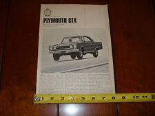 1967 PLYMOUTH GTX ORIGINAL ARTICLE