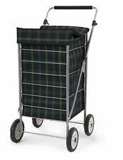 SABICHI 4 WHEEL SHOPPING TROLLEY CART WITH HANDLES TARTAN CHECK GREEN FOLDABLE