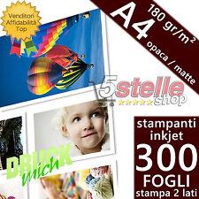 300 FOGLI CARTA FOTOGRAFICA A4 MATTE OPACA 180 GR. DOPPIO LATO STAMPABILE INKJET