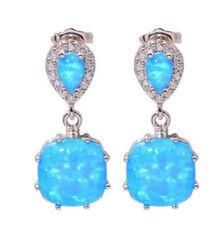 White Blue Fire Opal 925 Silver Ear Stud Drop Earrings for Women Wedding Prom
