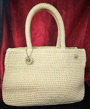 THE SAK MINI TOTE Handbag/Purse~IVORY~Dense Crochet Weave~KEY MINDER~Hangtag~EX!