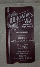 Vintage All–In–Vue 84 Drink Recipes Booklet