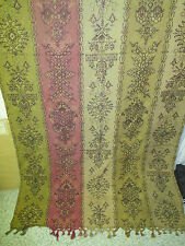 Antique woven Potier Drape Curtain with Tassels 4 colors Olive Beige Pink Sand