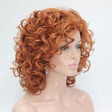 2017 New cute cosplay orange brown curly short women' full wig