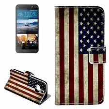 CUSTODIA COVER ECO PELLE WALLET USA FLAG PER HTC ONE M9 PLUS