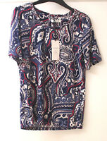 M&S Classic Sizes 8 12 16 18 Stretch Viscose Paisley Short Sleeve Top