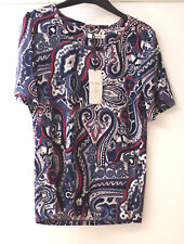 Ladies M&s Navy Chambray Mix Short Sleeve Marrakech Print Top Size 18 Plus