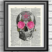 Magical Spell Pink skull dictionary book page print wall decor gothic picture