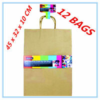 12 X EXTRA LARGE CRAFT DIY BROWN PAPER GIFT BAGS WITH HANDLE PARTY GIFT WRAP AP