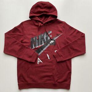 Nike NSW Air Kapuzen Pullover Hoodie Sweatshirt Herren Bordeaux Rot Grau Weiß L