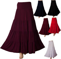 long Maxi tiered Gypsy Boho Skirt Stretch Fabric with SPandex New Womens