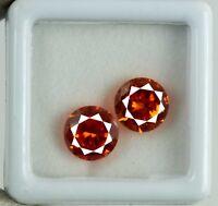 Orange Sapphire Gemstone Matching Pair 8 Ct Natural Round AGSL Certified 2 Pcs