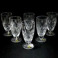 6 (Six) WATERFORD PATTERNS OF THE SEA Cut Lead Crystal Iced Bev Glasses-Signed