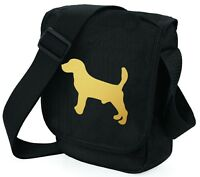 Beagle Dog Bag Shoulder Bags Metallic Gold Dog Black Handbag Birthday Xmas Gift