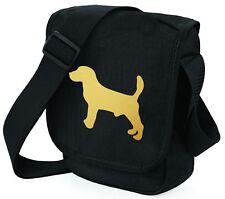 More details for beagle dog bag shoulder bags metallic gold dog black handbag mothers day gift