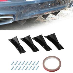 4x Curved Car Rear Lower Bumper Diffuser Fin Spoiler Lip Wing Splitter Body Kit