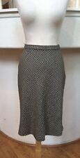 DKNY Black/White Plaid Wool/Cashmere A-Line Midi Skirt Size 8