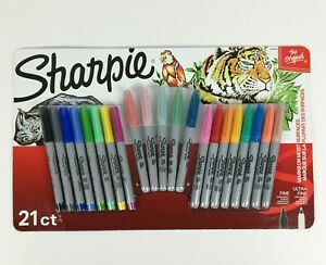 Sharpie Permanent Markers Fine and Ultra Fine Point, Assorted Colors, 21 Count