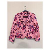 CAbi 804 Pink Floral Rose Garden Blazer Jacket Pockets Stretch Buttons Women 16