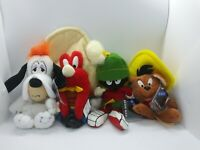 Vintage Warner Brothers Plush Beanies Droopy Dog Speedy Marvin Martian Sam 1998